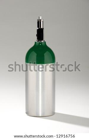 Aluminum oxygen tank - stock photo