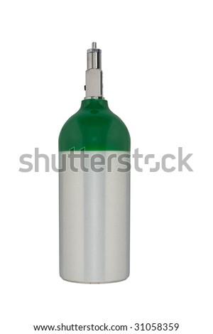 Aluminum oxygen tank isolated on white - stock photo