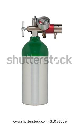Aluminum oxygen tank with regulator isolated on white - stock photo