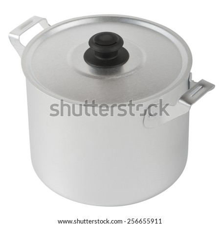 Aluminum pan for home cooking on a white background - stock photo