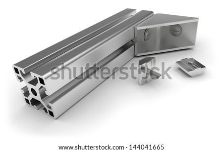 Aluminum profile accessories - stock photo
