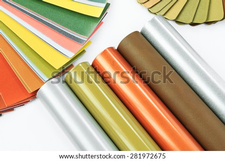 Aluminum profiles coated with colorful effect pigments powder coating. - stock photo