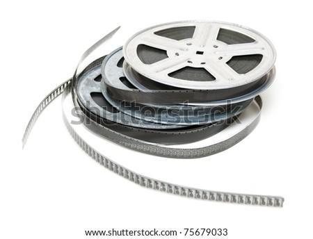 Aluminum reel of film isolated on white background - stock photo