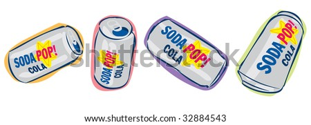 Aluminum soda pop cola cans viewed at different angles - stock photo