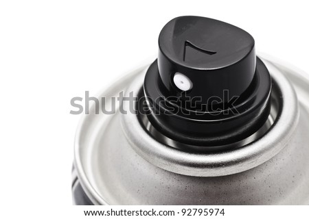 Aluminum spray can with nozzles isolated on white - stock photo