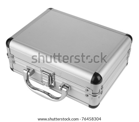 Aluminum suitcase isolated on a white background