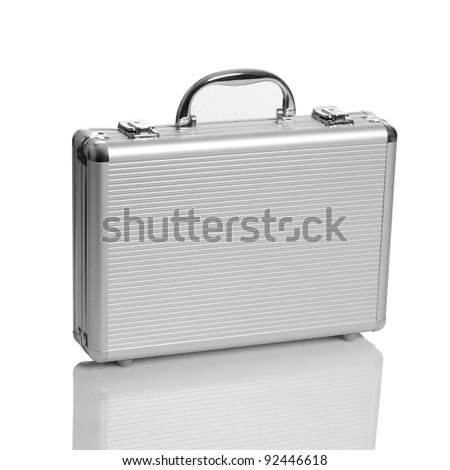 Aluminum suitcase. Isolated white background. - stock photo