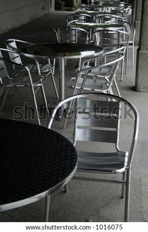 Aluminum table and chairs of an outdoor cafe