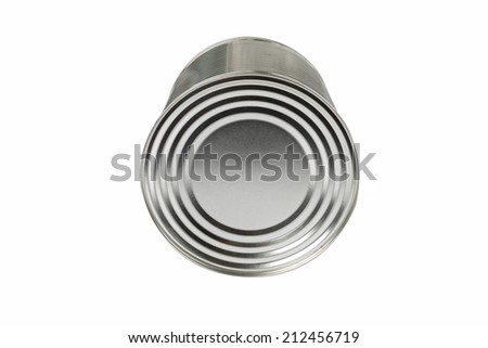 aluminum tin can for food on a white background