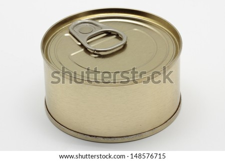 aluminum tin can on white background - stock photo