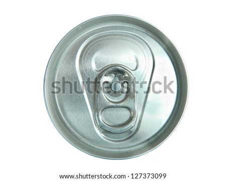 Aluminum tin on white background