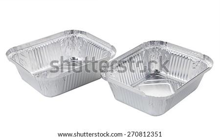 aluminum tray isolated on a white background - stock photo