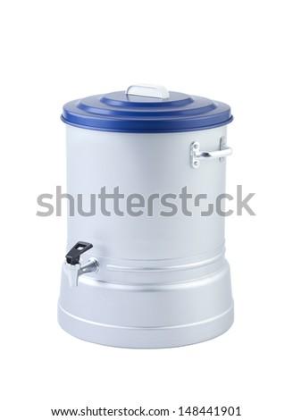 Aluminum water cooler isolated on white background - stock photo