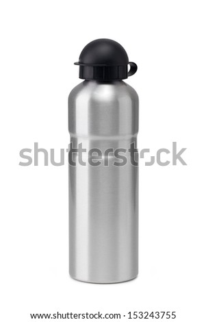 aluminum water flask on a white background