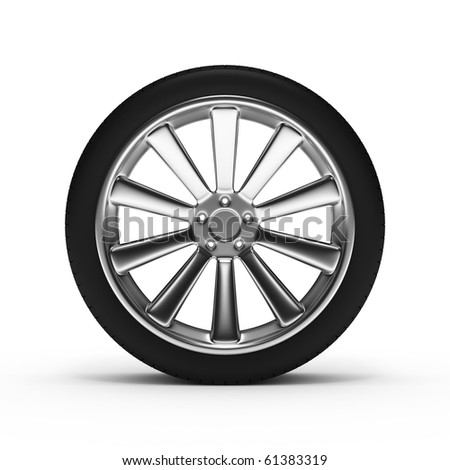 aluminum wheel with tires isolated on white background