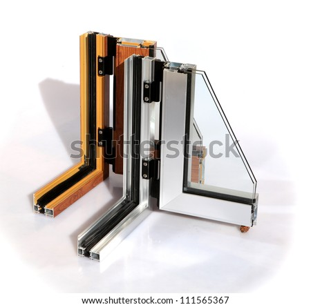 Aluminum window cut out with glass