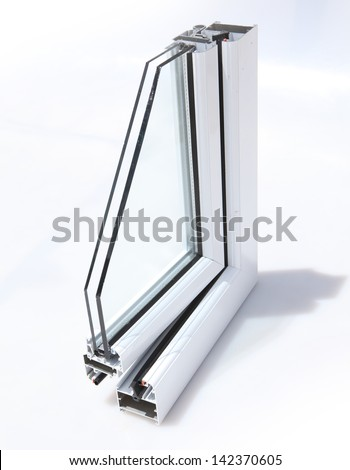 Aluminum window cut out with glass - stock photo