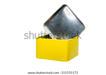 Aluminum yellow box  isolated on white background - stock photo