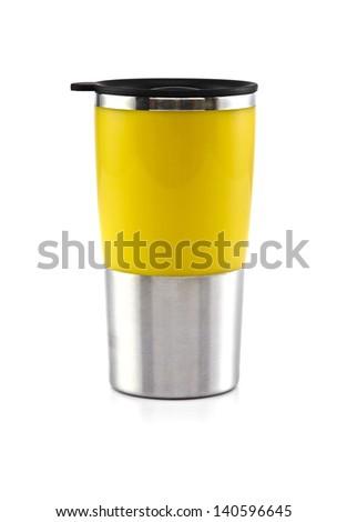 Aluminum yellow mug on the white background - stock photo