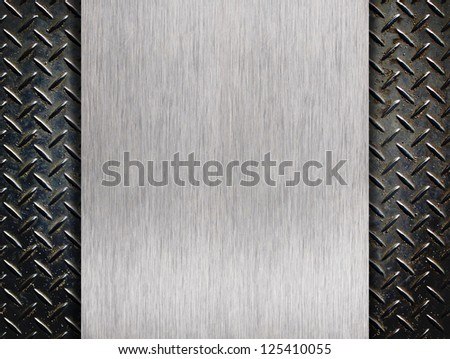Alumnum list with rhombus shapes with vertical plate - stock photo