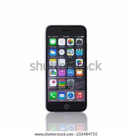 Alushta, Russia - November 11, 2014: Isolated new phone iPhone 6 Space Gray. iPhone 6 was created and developed by the Apple inc. - stock photo