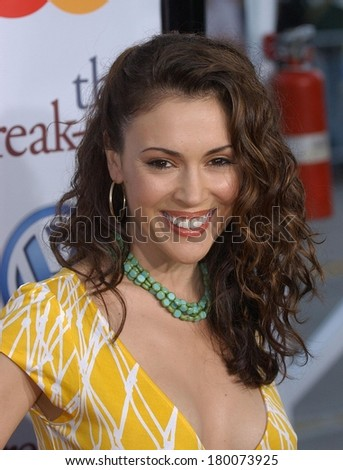 Alyssa Milano at THE BREAK UP Premiere, Mann's Village Theatre in Westwood, Los Angeles, CA, May 22, 2006 - stock photo