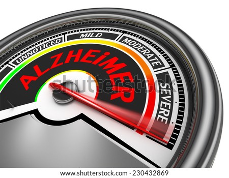 alzheimer disease conceptual meter indicate severe, isolated on white background - stock photo