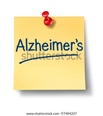 Alzheimer neurological disease with yellow sticky paper reminder office note with a red thumb tack as a medical and health care symbol of brain illness and human memory problems on white. - stock photo