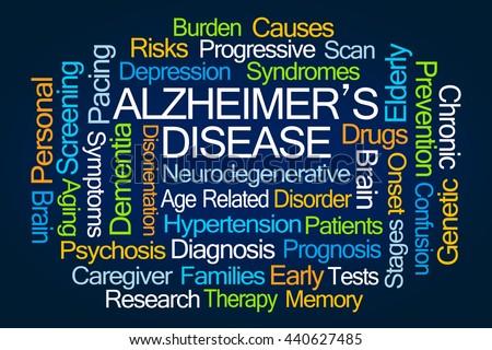 Alzheimer's Disease Word Cloud on White Background - stock photo