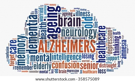 Alzheimers in word collage - stock photo