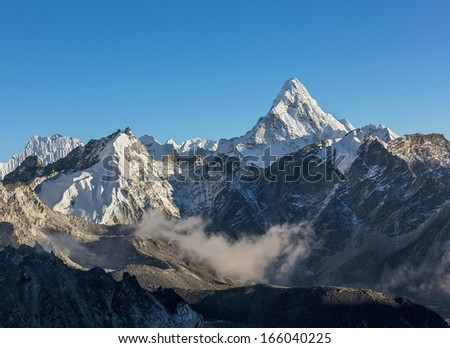 Ama Dablam (6814 m). View from Kala Patthar (5600 m) - Everest region, Nepal, Himalayas - stock photo