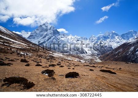 Ama Dablam mount view in Sagarmatha National Park in the Nepal Himalaya - stock photo