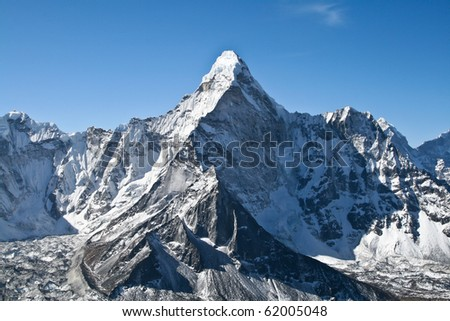 Ama Dablam mountain, Khumbu glacier, Nepal - stock photo
