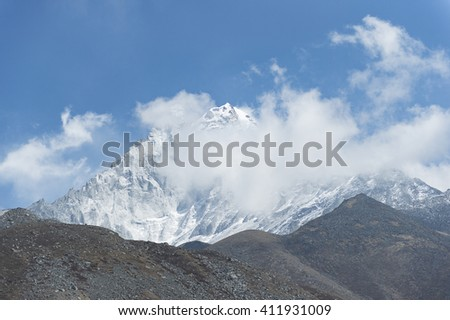 Ama Dablam Mountain the popular mountain in the way to everest base camp - stock photo