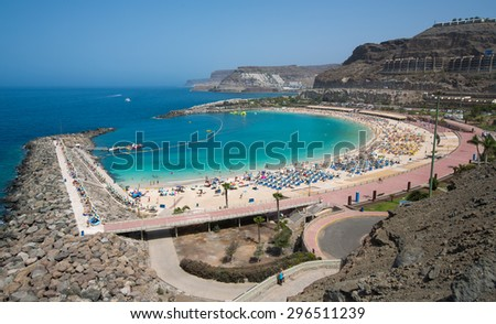 Amadores beach in Gran Canaria, Canary Islands, Spain.