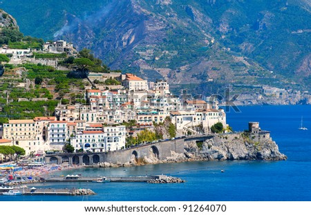 Amalfi coast by Naples, south Italy - stock photo