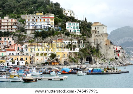 Amalfi coast, Italy - panoramic view of Cetara harbor and town