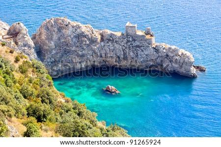 Amalfi coast on Mediterranean sea south of Naples, Italy - stock photo