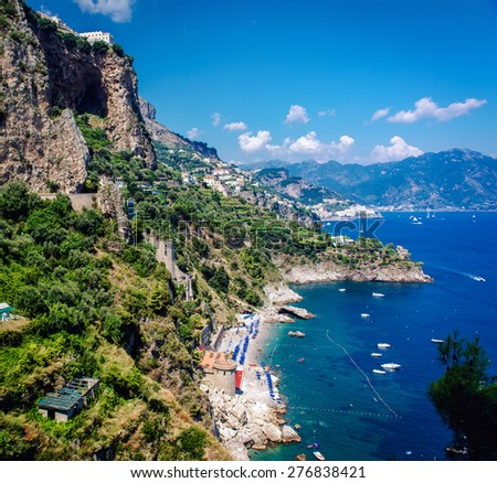 Amalfi Coast. Stunning landscape with cliffs and Mediterranean sea. Italy - stock photo
