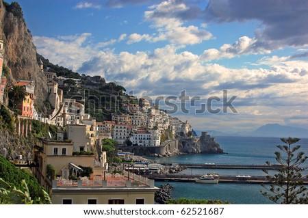 Amalfi Coast - The Beautiful Town of Amalfi - stock photo