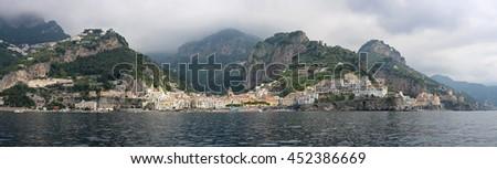 AMALFI, ITALY - JUNE 28: Long Panorama of Amalfi on JUNE 28, 2014. Amalfi Coast Panoramic Landscape in Amalfi, Italy. - stock photo