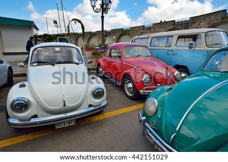 Amalfi, ITALY - JUNE 01: Volkswagen Beetle Club gathering in Amalfi, Italy on June 01, 2016 - stock photo