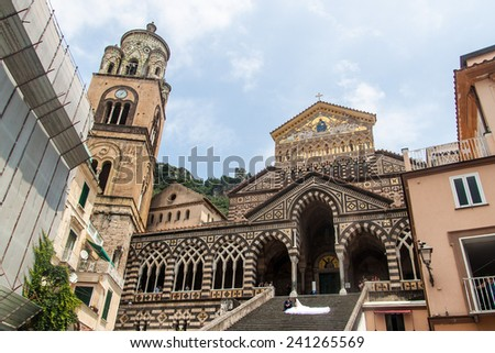 AMALFI, ITALY - JUNE 28, 2014: Wedding in a church in a small town Amalfi, Italy. Amalfi is included in the UNESCO World Heritage Sites. - stock photo