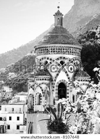 Amalfi the arab bell tower of the cathedral of holy Andrew - stock photo