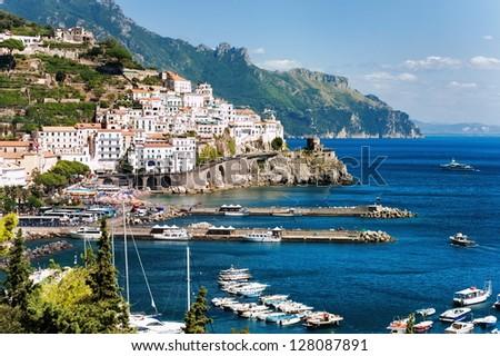 Amalfi town by Naples, Italy - stock photo