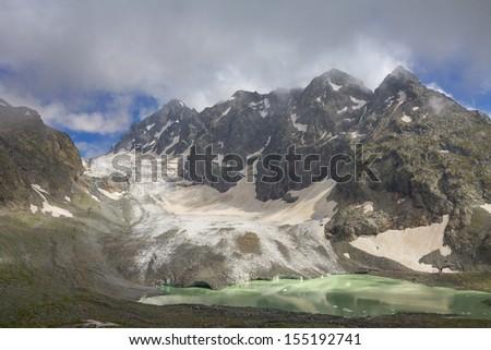 amanauz glacier caucasus russia - stock photo