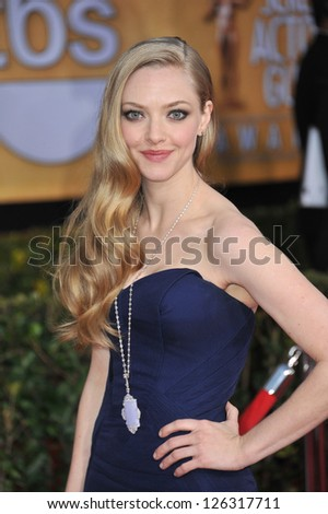 Amanda Seyfried at the 19th Annual Screen Actors Guild Awards at the Shrine Auditorium, Los Angeles. January 27, 2013  Los Angeles, CA Picture: Paul Smith - stock photo