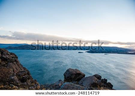 Amantani Island, Titicaca lake, Peru - stock photo