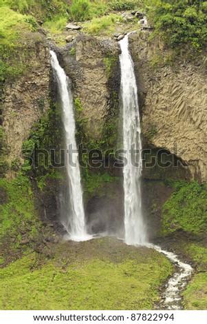 "Amante de la novia ""loving girlfriend"" waterfall , twin fall in Ecuador - stock photo"