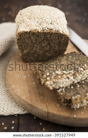 Amaranth and chia bread with sesame seed crust - stock photo